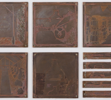 Fran Rokhlin Coppers for rubbing 6 Stations of Glenfiddich for an Instagram pilgrimage Etched copper plate