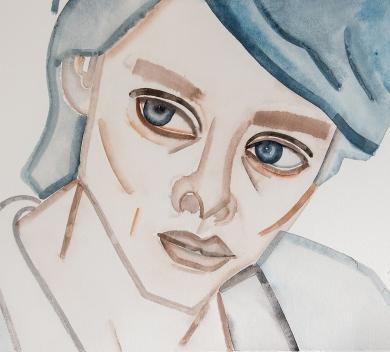 Hu Zi - Adele Gouache on paper 45 cm x 55.5 cm