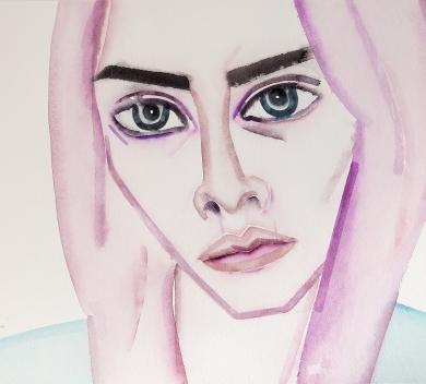 Hu Zi - Charlotte Free Gouache on paper 42.7 x 54.7 cm