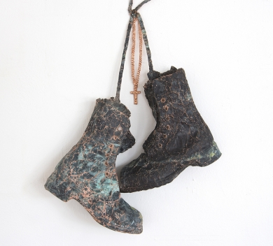Hanging up My Boots Single unbroken piece of oxidized copper foil 60 x 38 x 10 cm