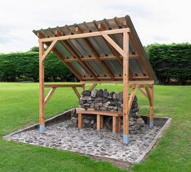 Rhona Jack Stone Wood Steel random stone wood galvanised steel concrete